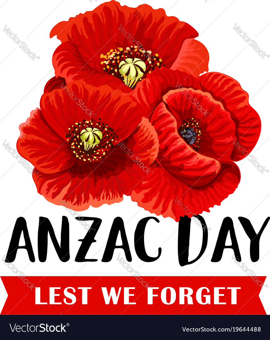 Anzac remembrance day icon with red poppy flower vector image mightylinksfo Gallery