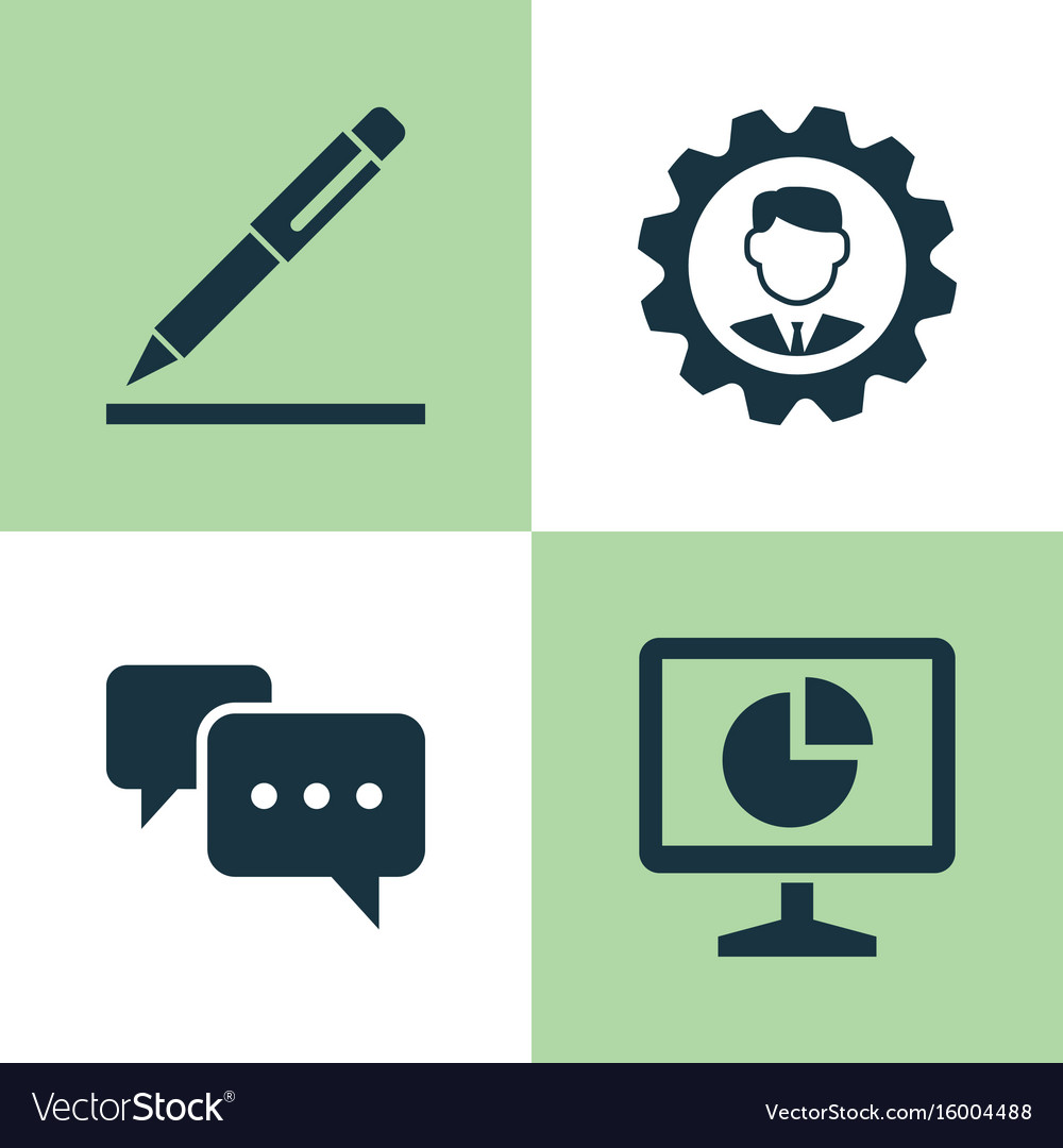 Business icons set collection of pen chatting vector image