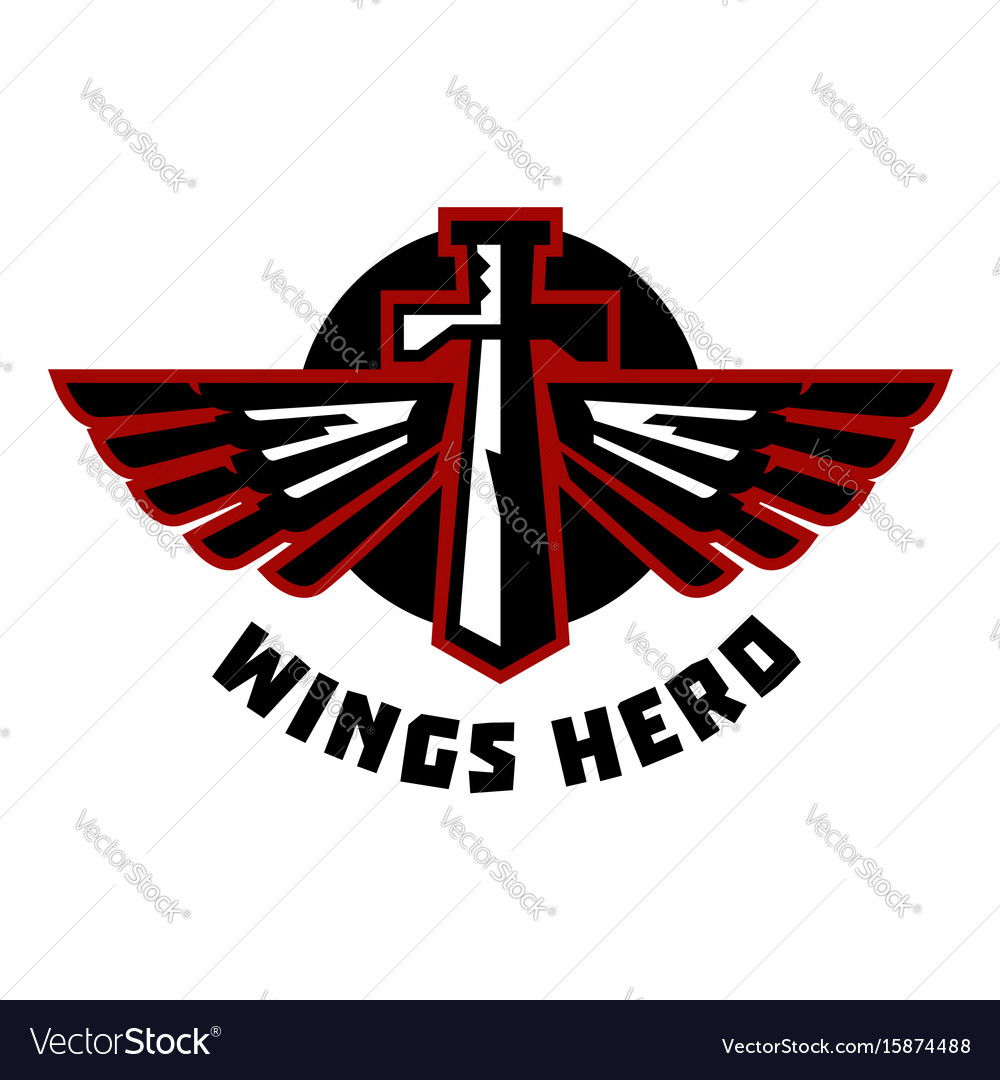 Logo sword and wings flat vector image