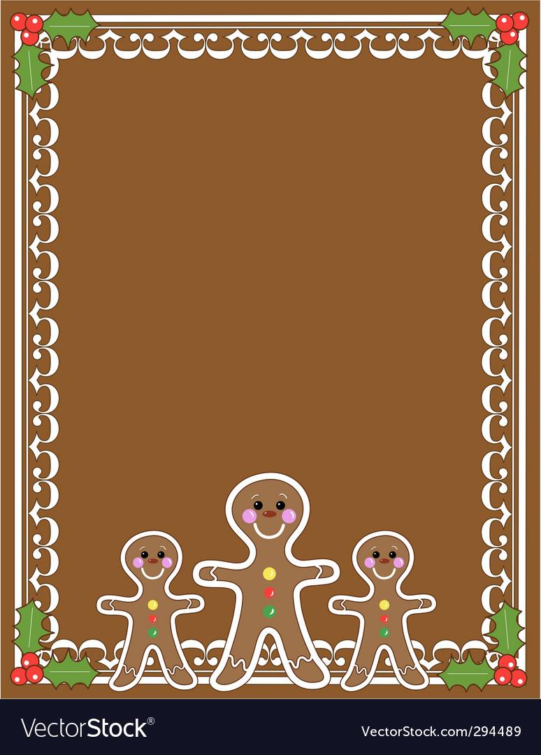 Gingerbread man border vector image