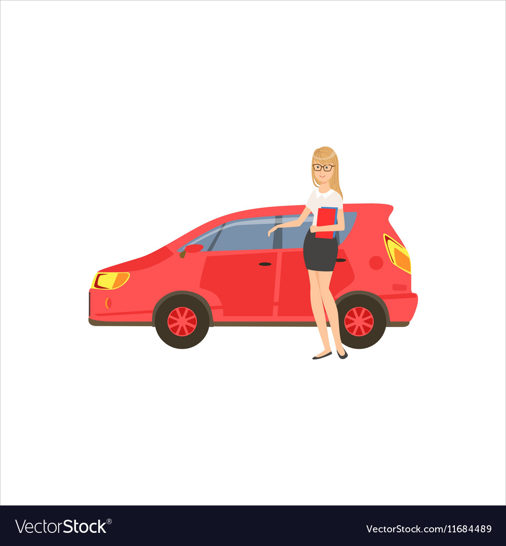 Happy Self-made Business Lady With Her Red Car In vector image