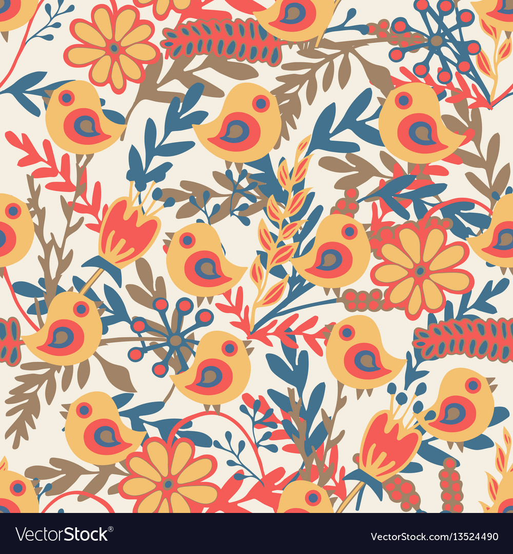 Seamless pattern with hand drawn birds and vector image