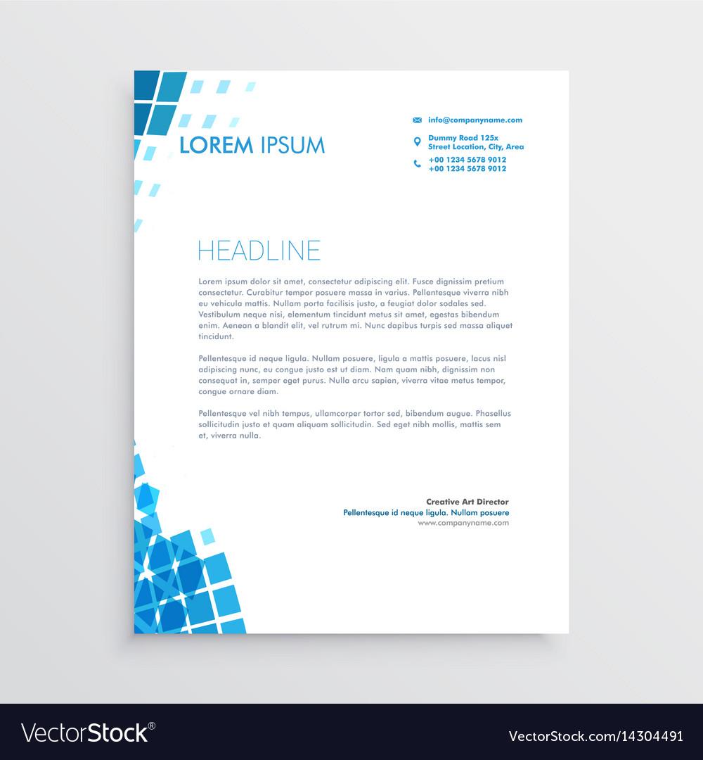Blue mosaic abstract letterhead design vector image