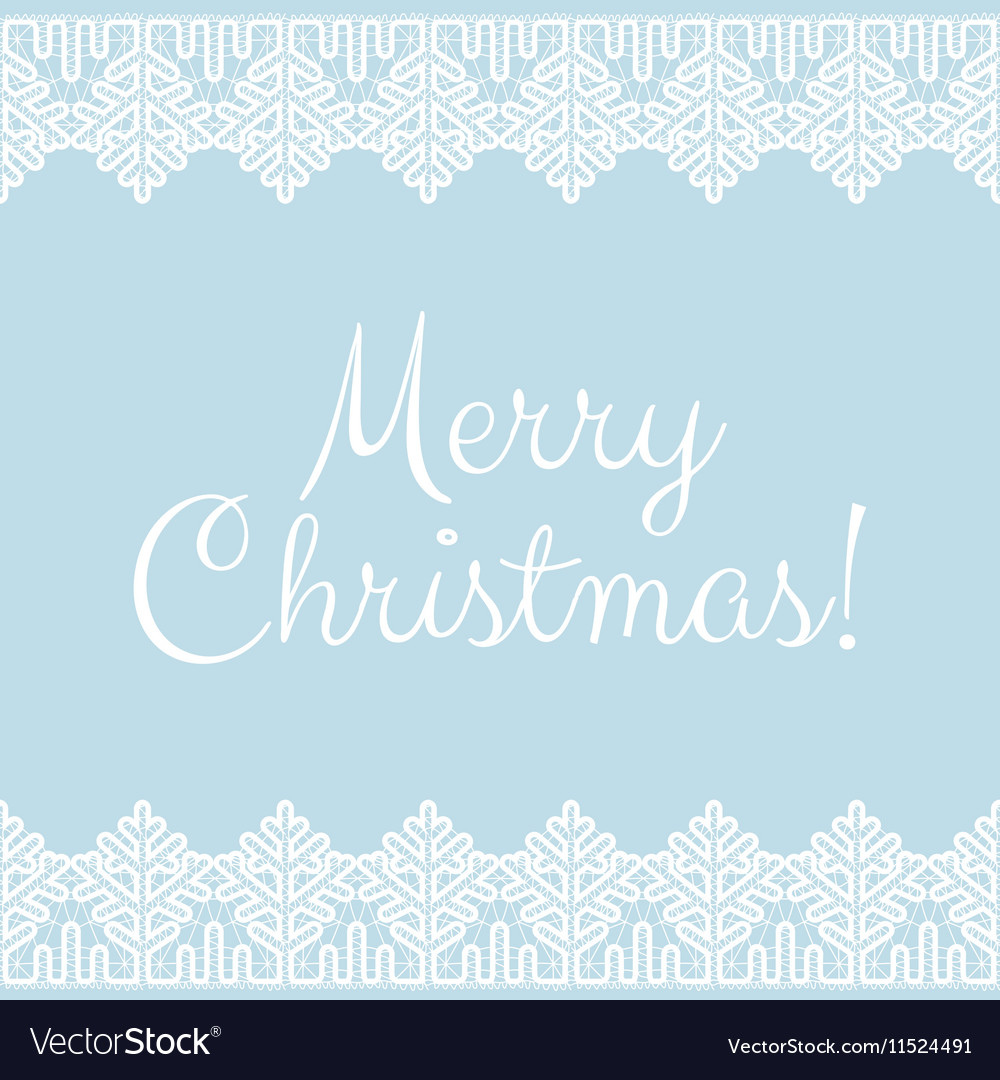 Card with white lace winter borders vector image