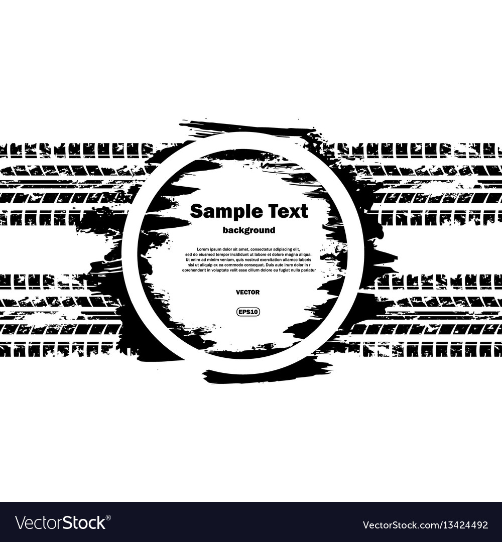 Grunge circle with text and tire track vector image