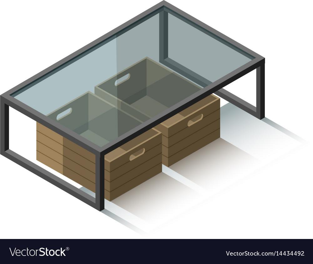 Isometric glass coffee table vector image