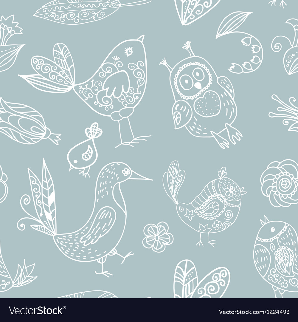 Birds seamless silhouette pattern vector image