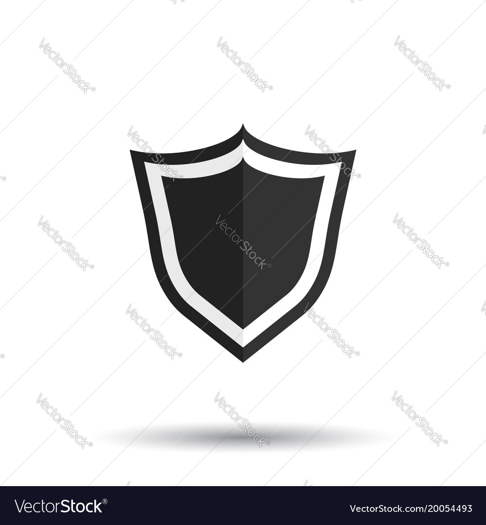 Shield protection icon in flat style with shadow vector image