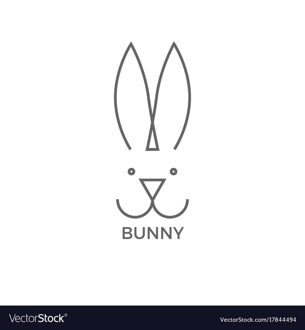 Bunny logo design simple line vector image