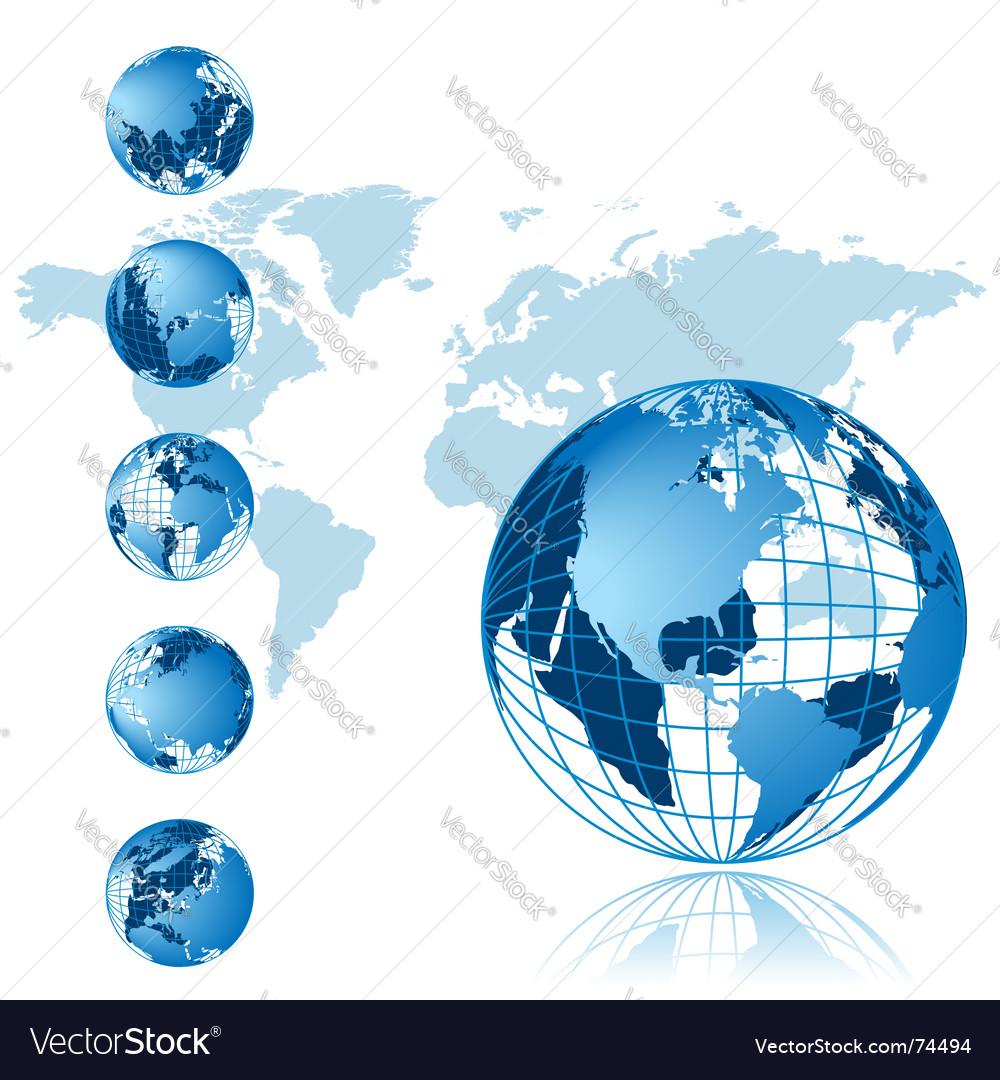 World map 3d globe series vector image