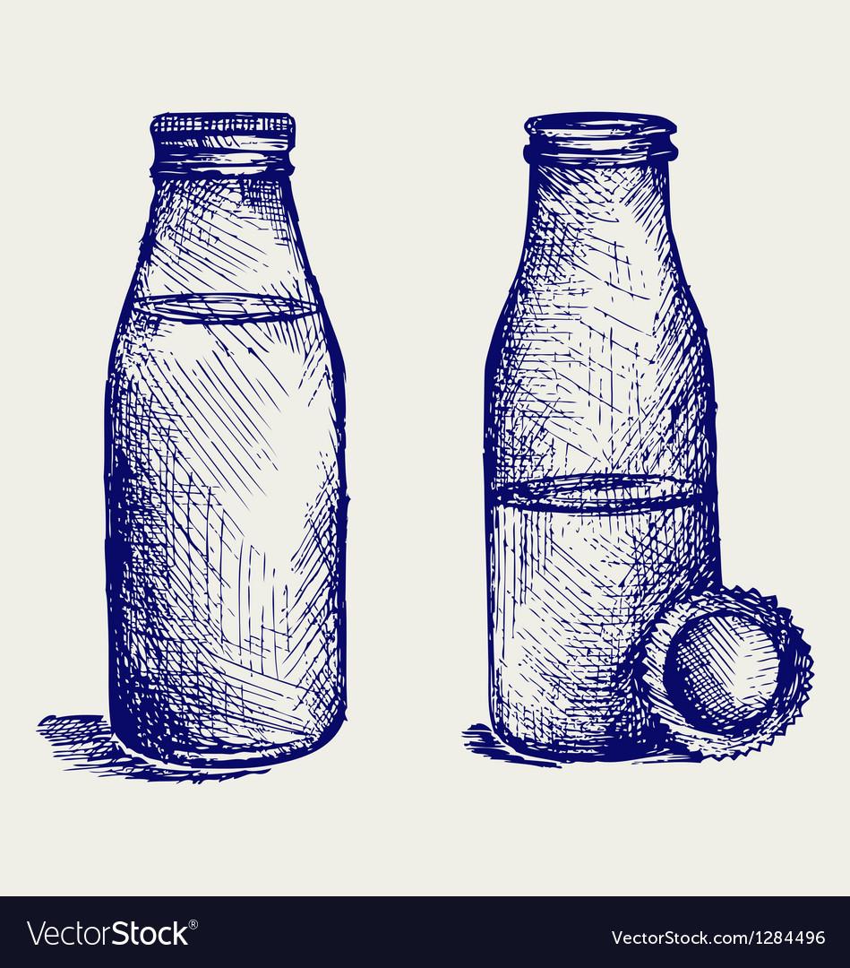 Milk bottle vector image