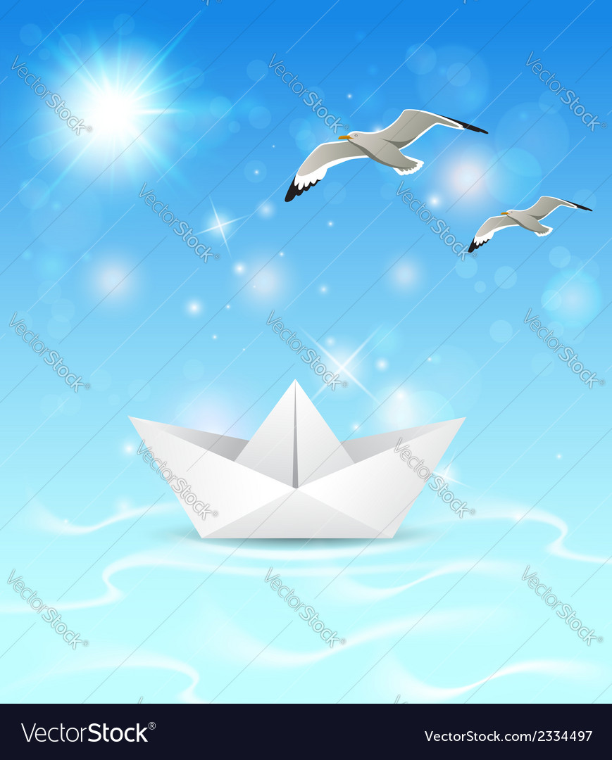 Summer blue marine background with paper boat vector image