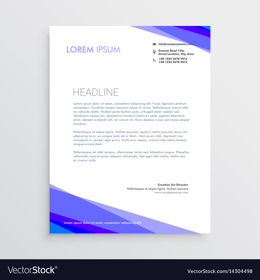 Abstract purple shape letterhead design vector image