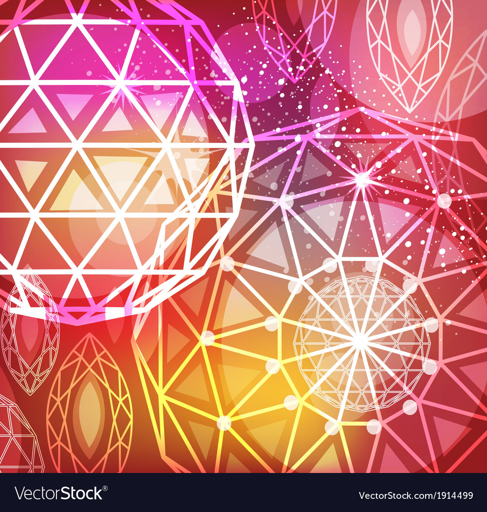 Abstract red background with linear diamonds vector image