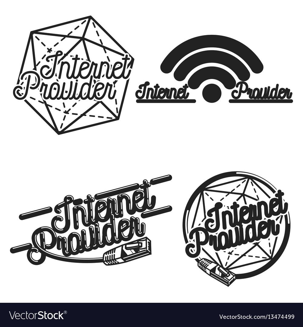 Color vintage internet provider emblems vector image