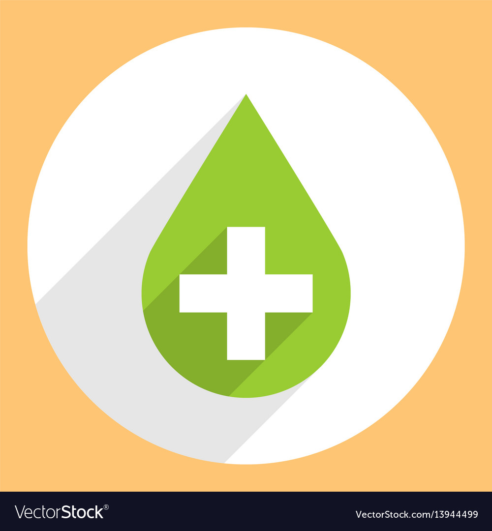 Green drop icon first aid sign circle shape vector image