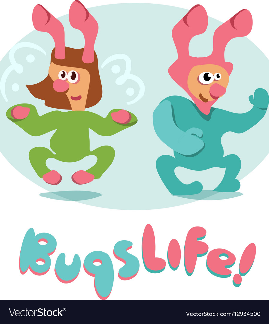 Set of cartoon bugs insects funny friendly vector image