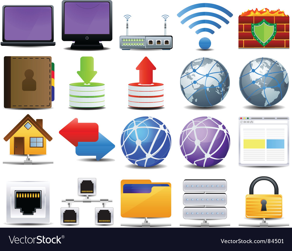 Computer and network icons vector image