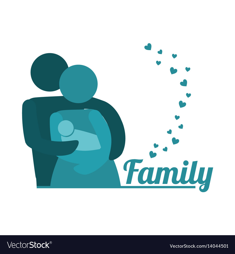 Lovely family parents carriage baby together vector image
