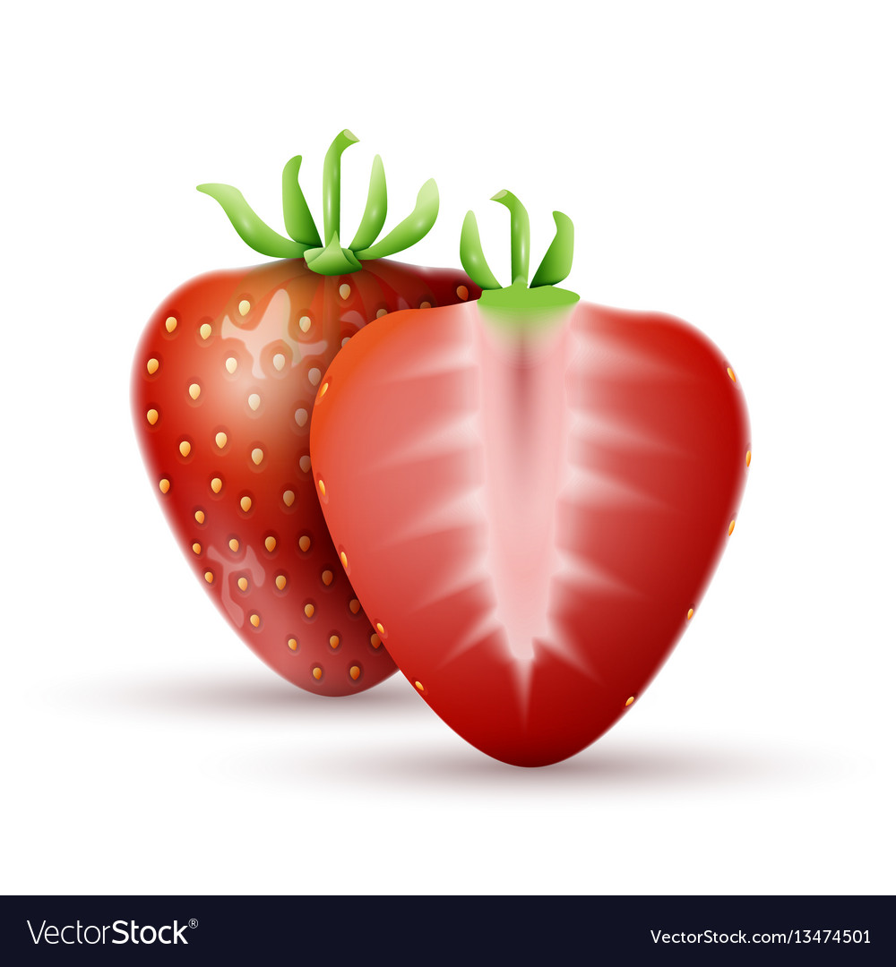 Whole strawberry and a half strawberry vector image