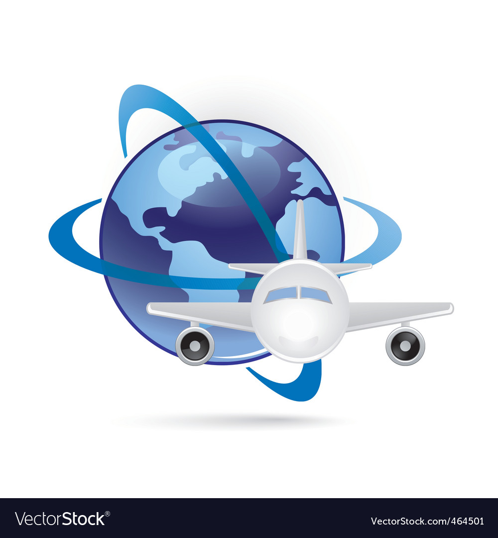 World and plane icon vector image