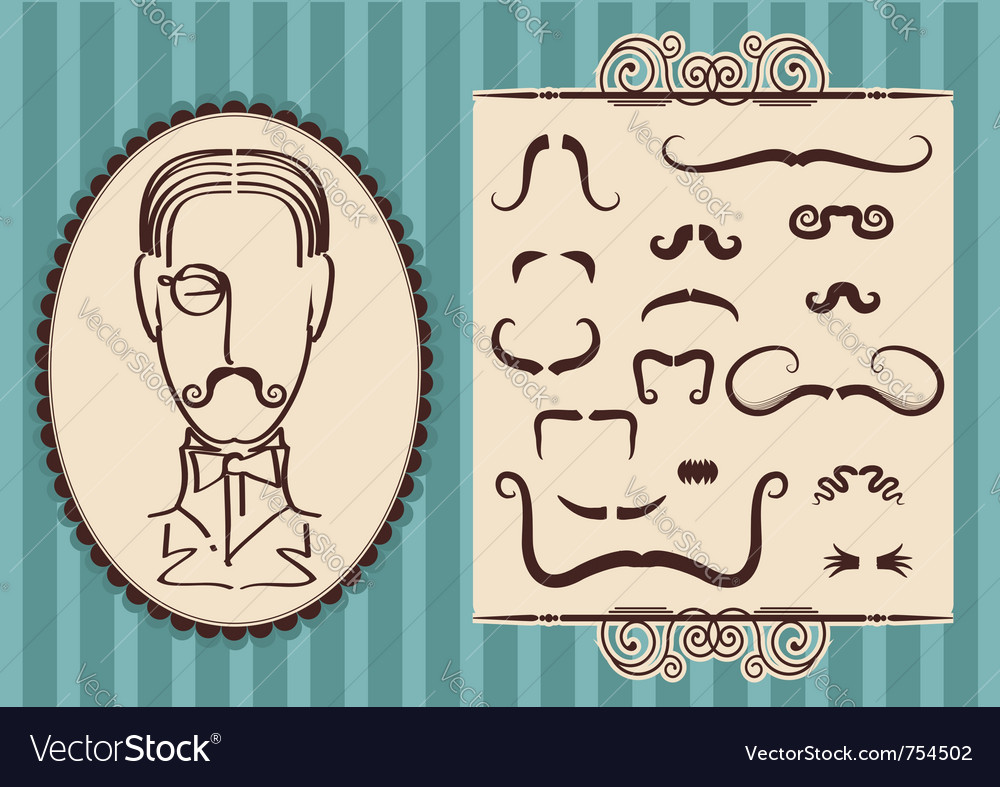 Man portrait and mustaches vector image