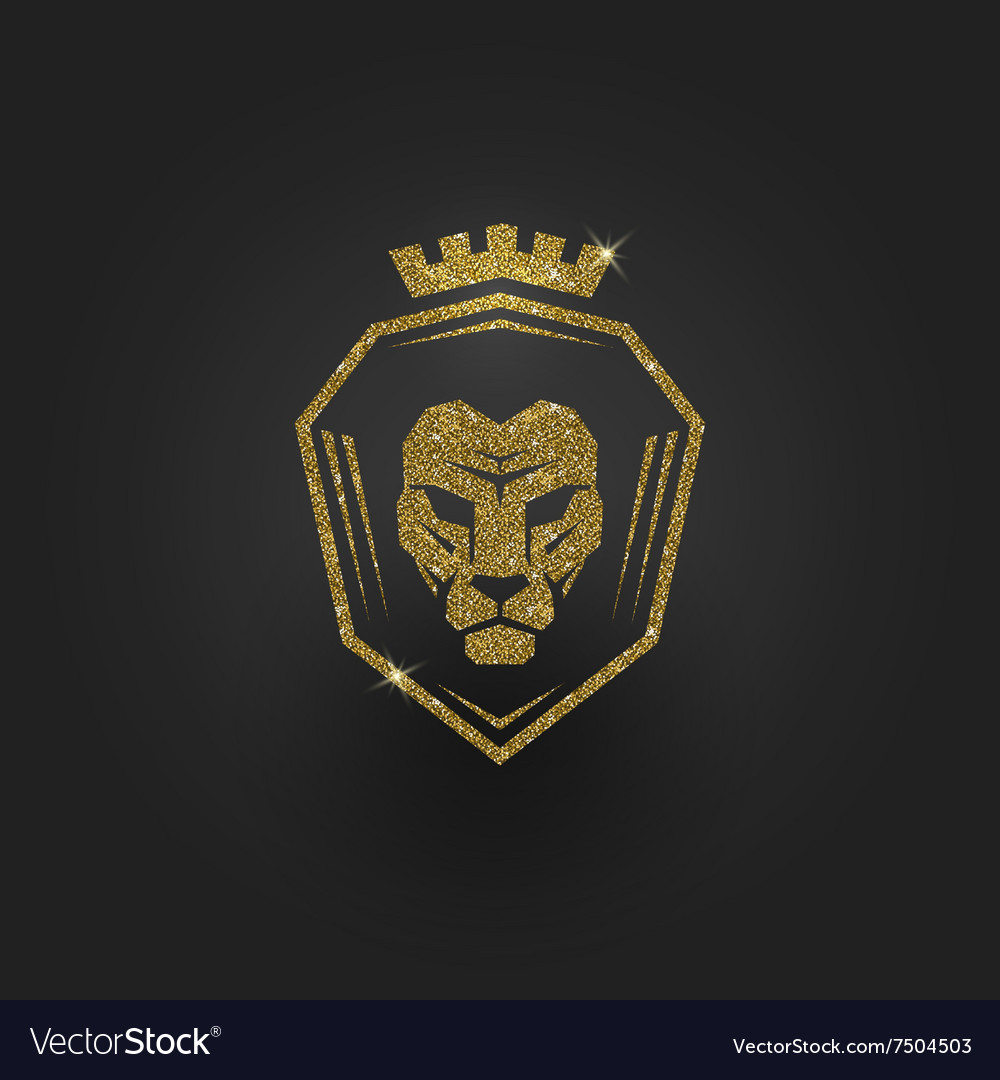 Glitter gold lion logo Royalty Free Vector Image