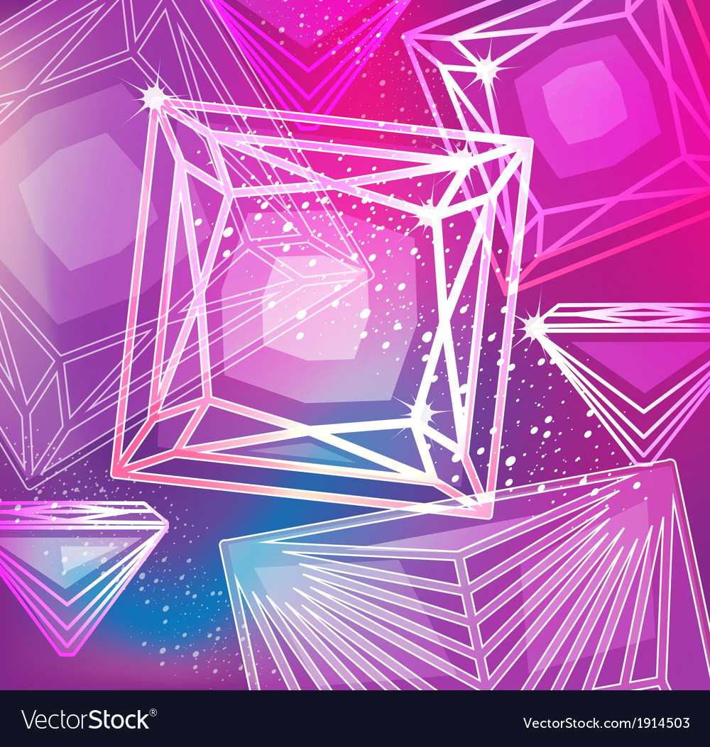 Abstract magenta background with linear diamonds vector image
