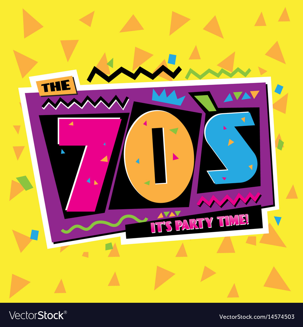 Party time the 70 s style label vector image