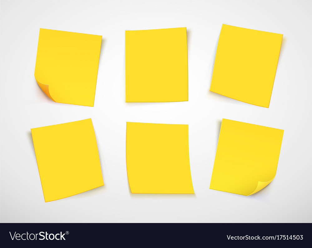 Yellow paper notes post it note vector image