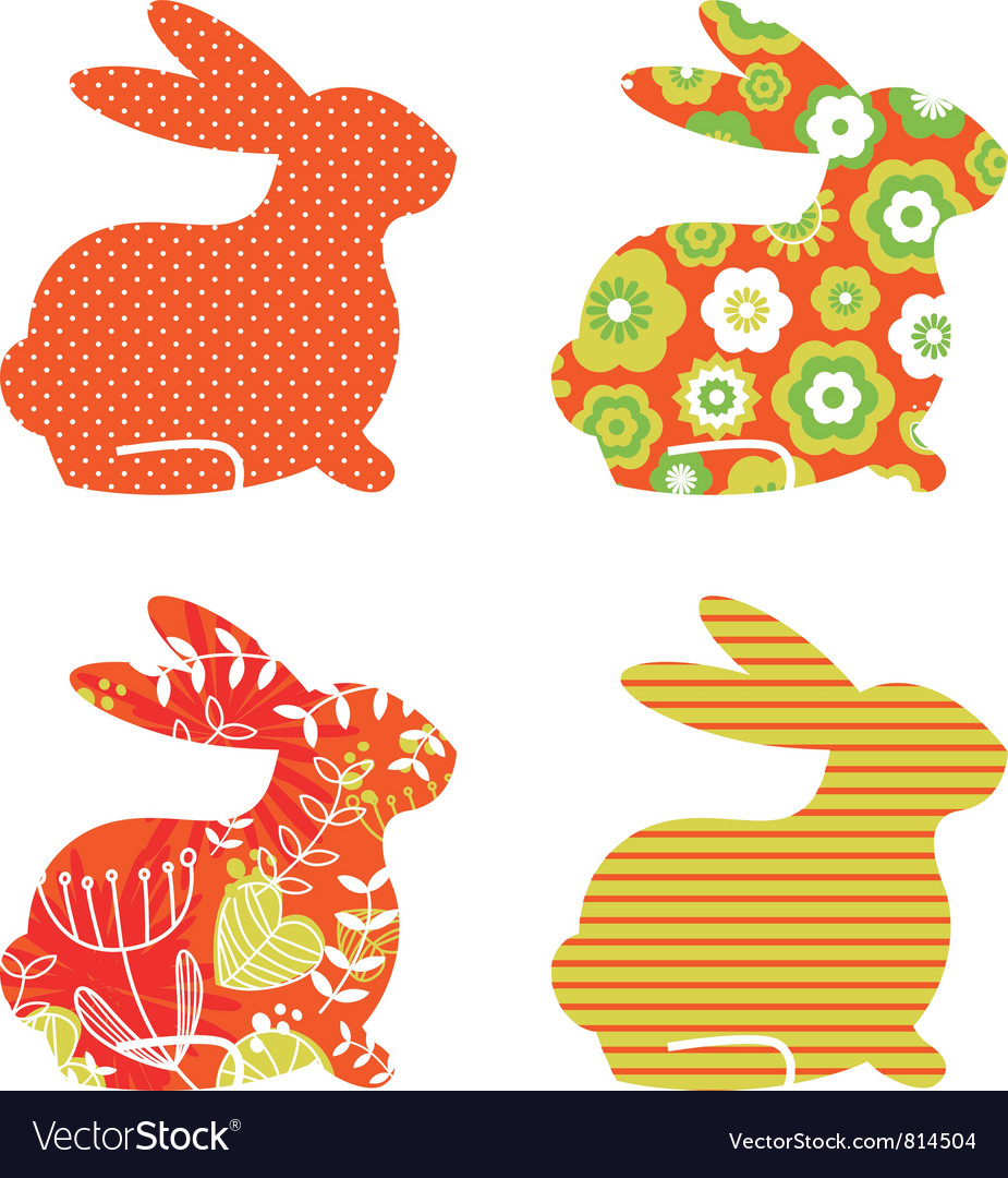 Abstract floral bunnies vector image