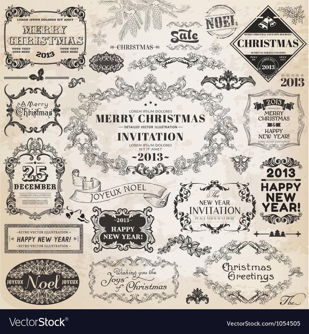 Set Christmas Calligraphic Design Elements vector image