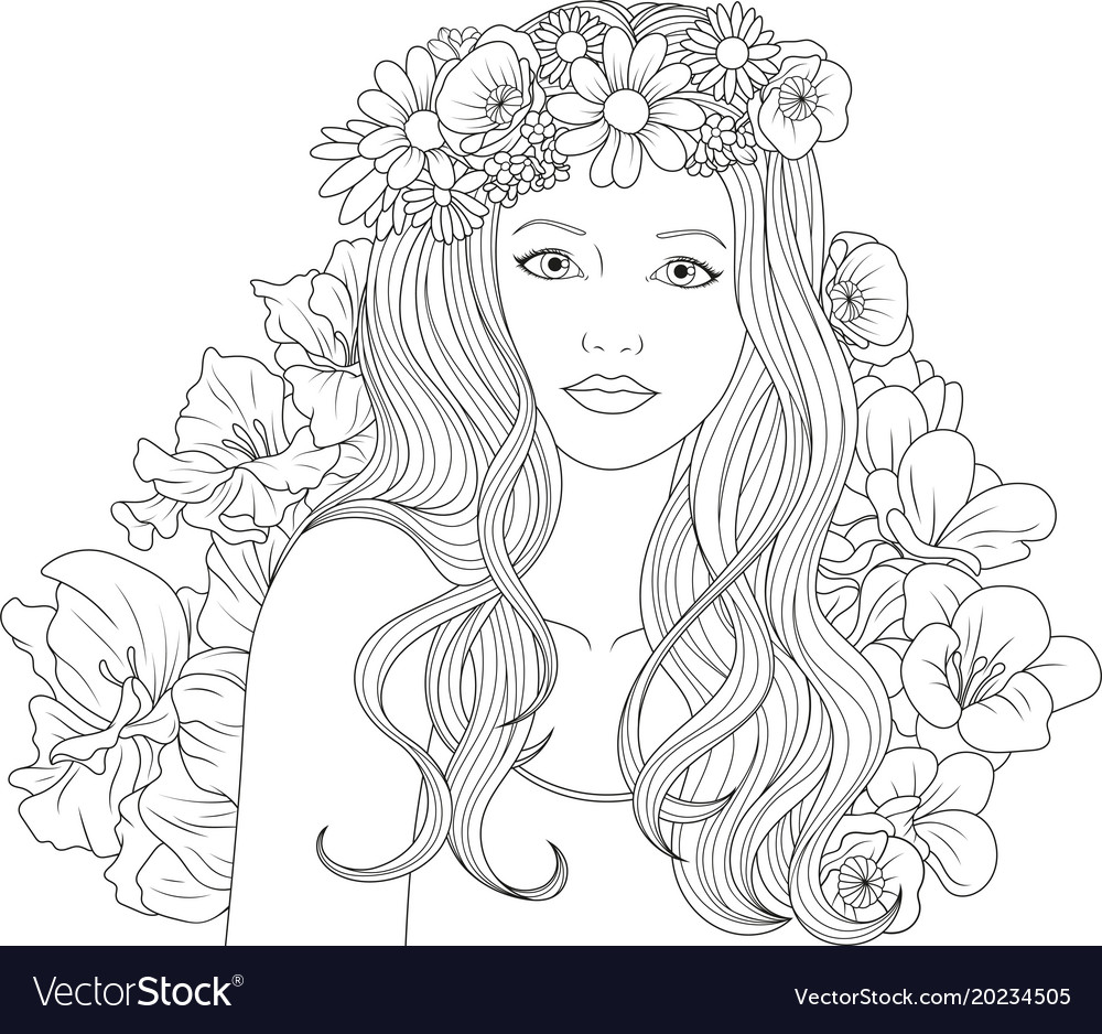 Beautiful girl coloring pages Royalty Free Vector Image