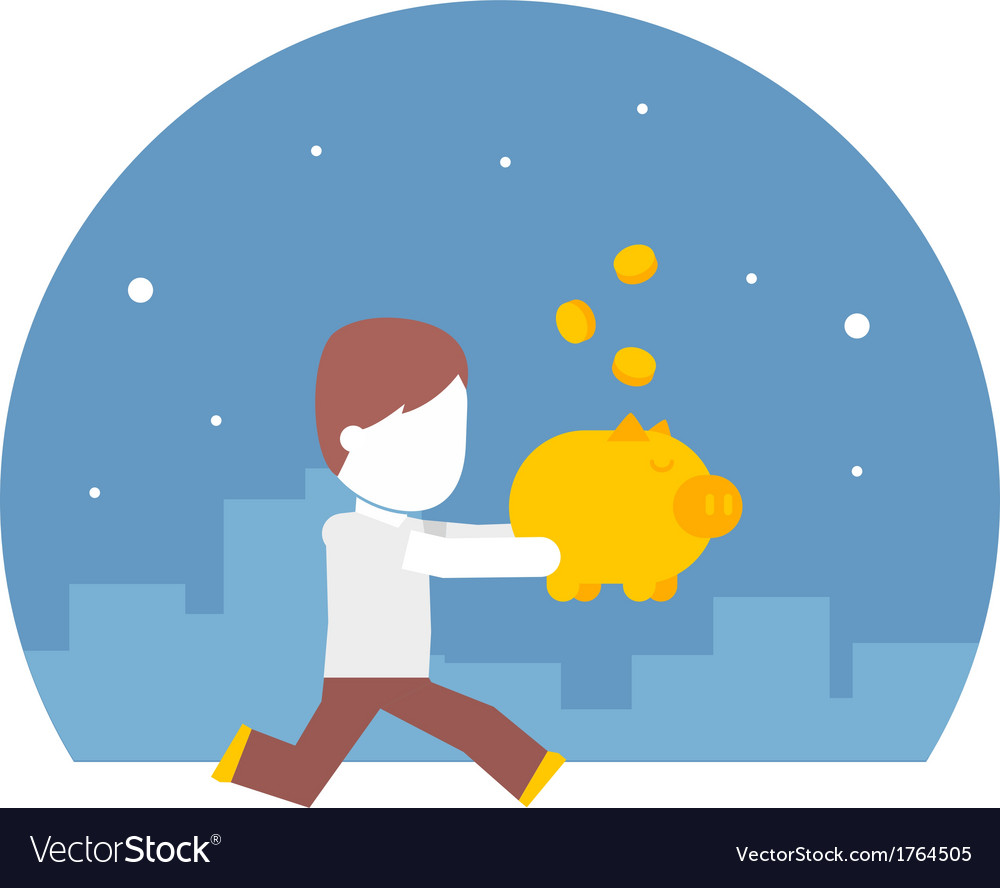 Man running with a piggy bank full of money vector image