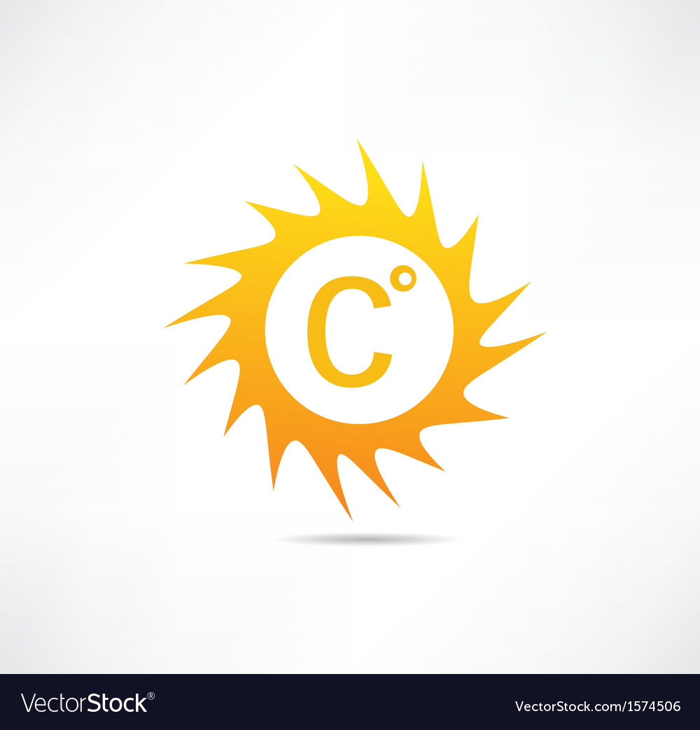 Sun and Celsius mark icon vector image