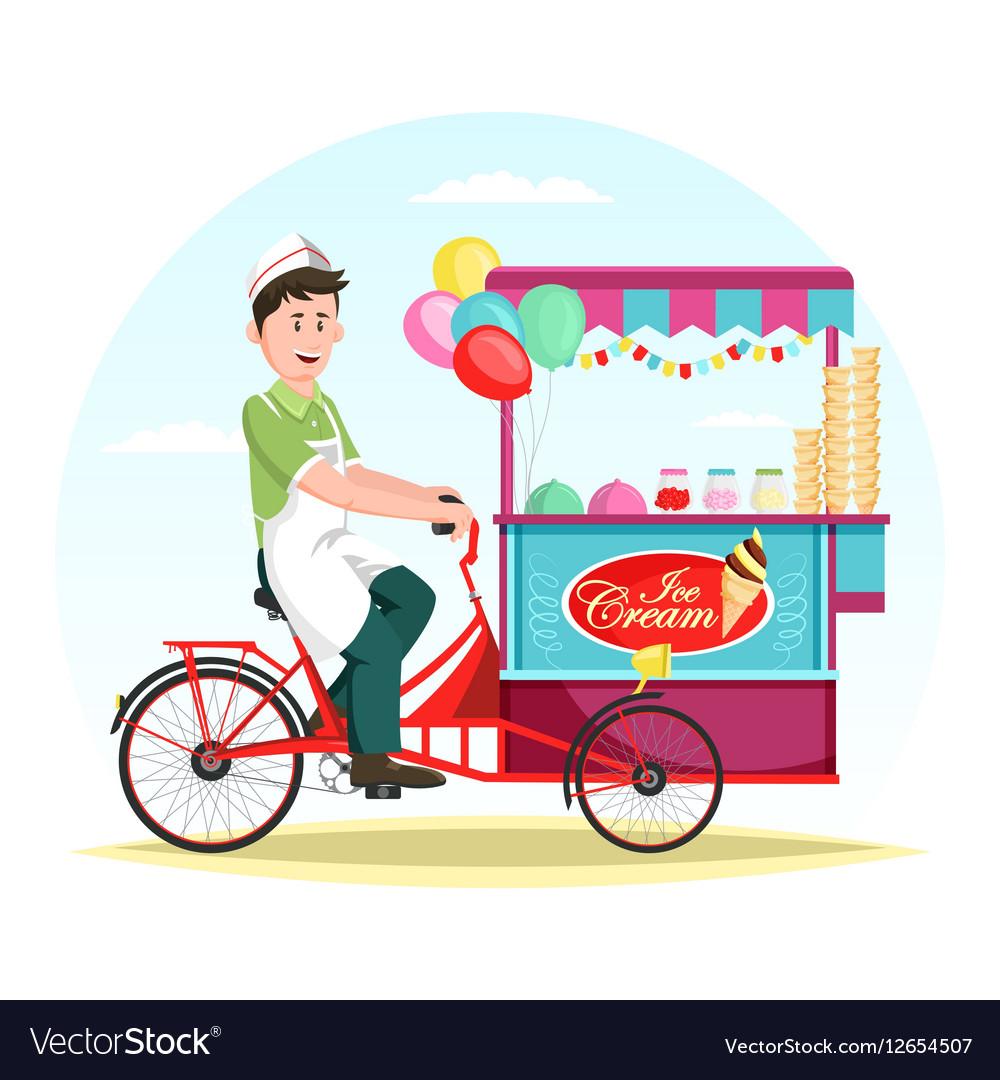 Ice cream wagon or trolley with vendor man vector image