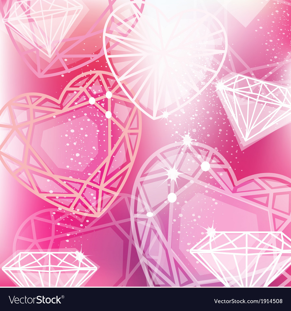 Abstract pink background with linear diamonds vector image
