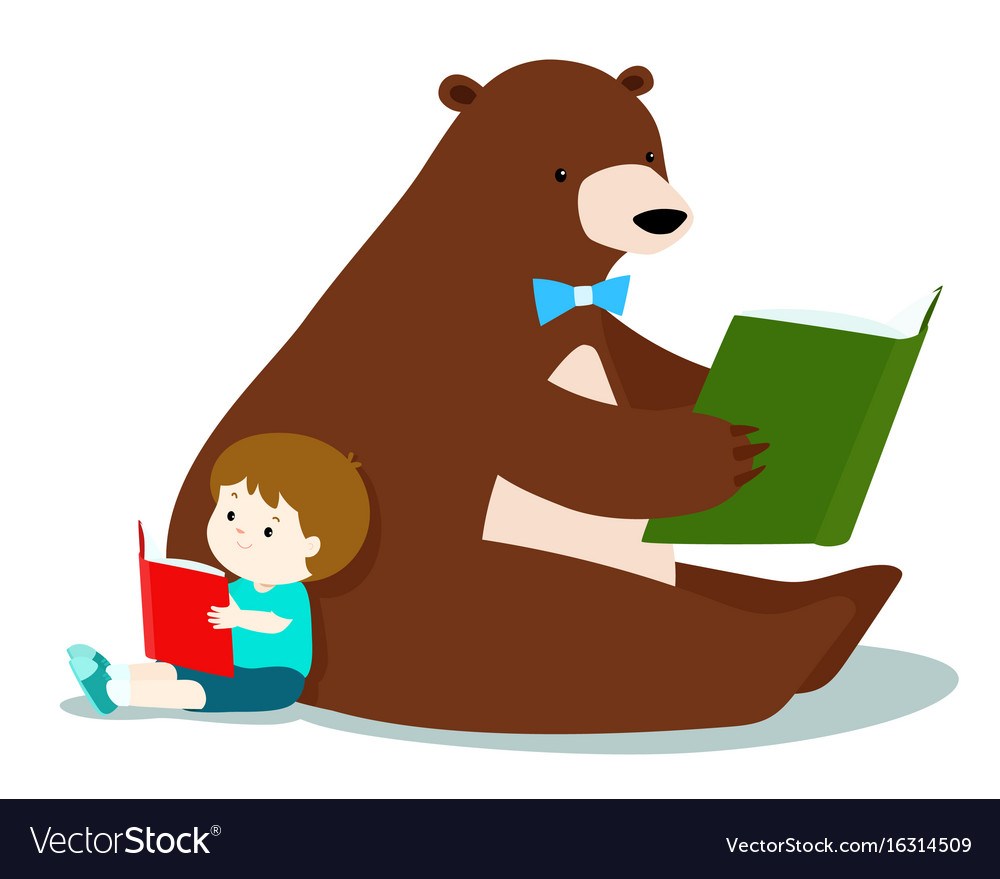 Cute boy and fluffy bear are reading a book vector image