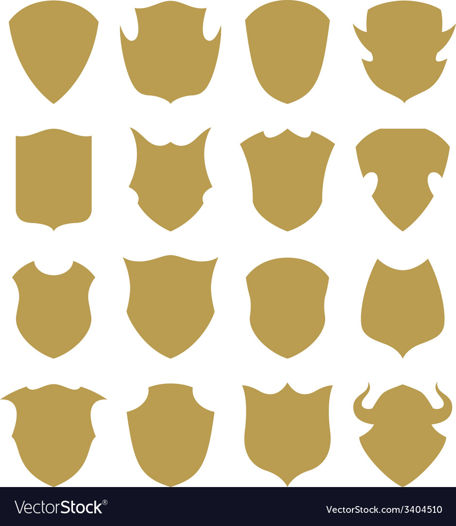 Golden shield silhouette vector image