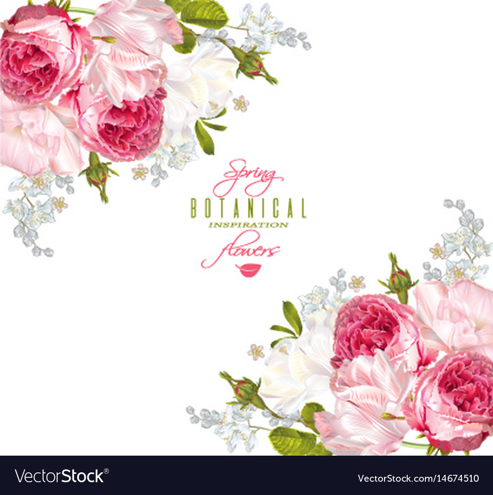 Romantic flowers corner banner vector image