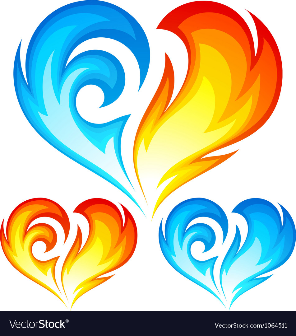 Fire and Ice heart vector image