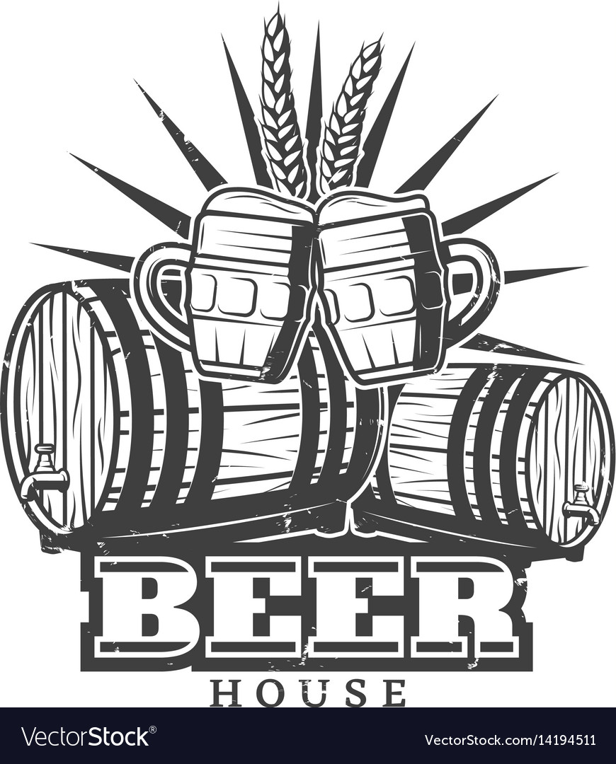 Monochrome vintage brewery template vector image