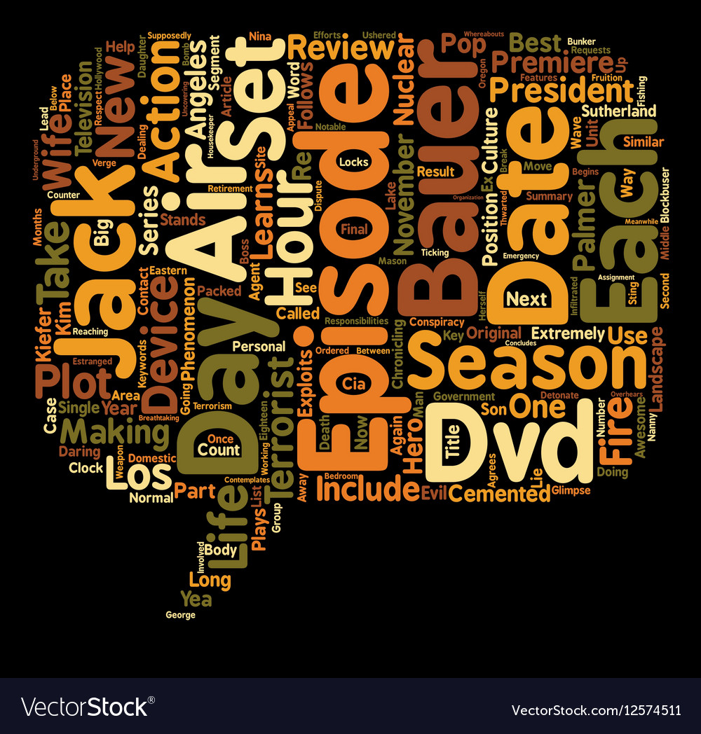 Season DVD Review text background wordcloud vector image
