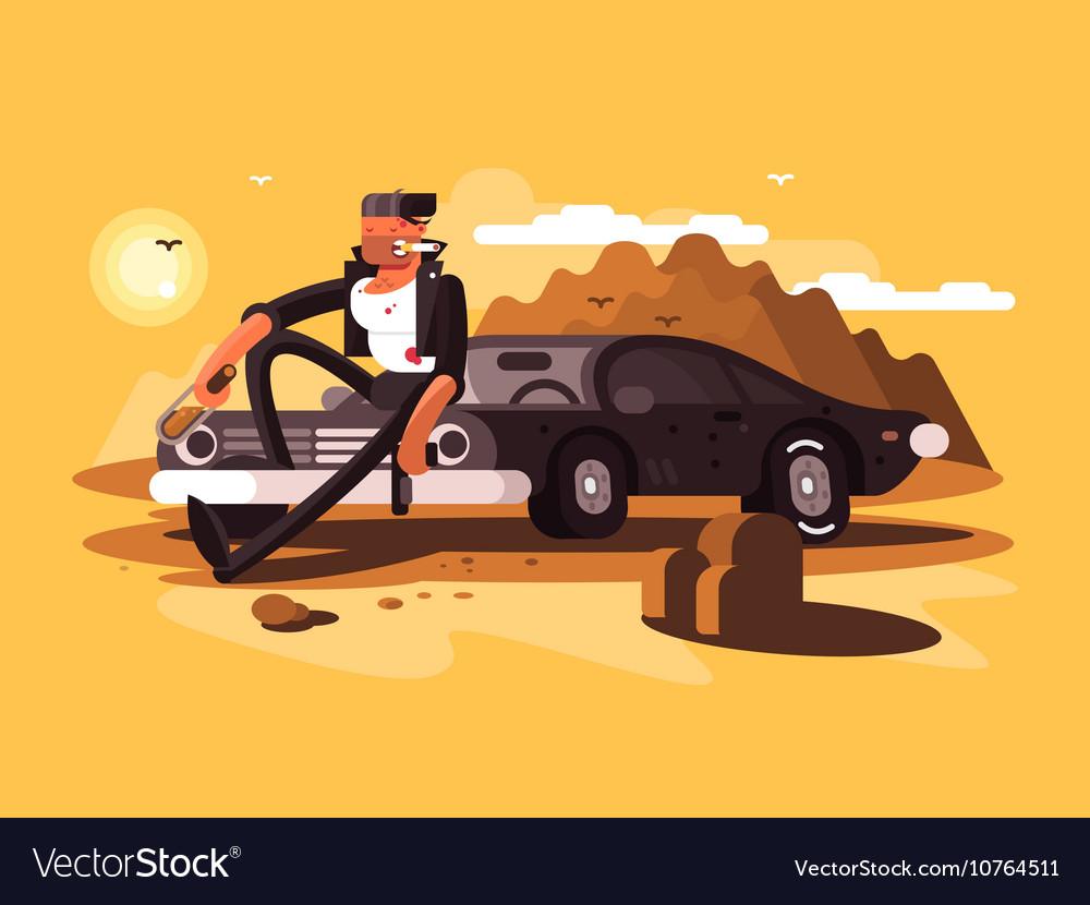 Tough man near car vector image