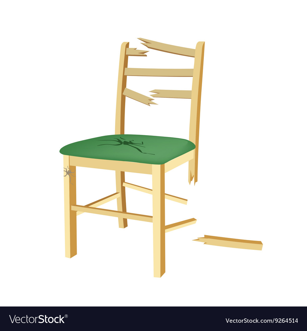 Broken wooden chair with green seat vector image