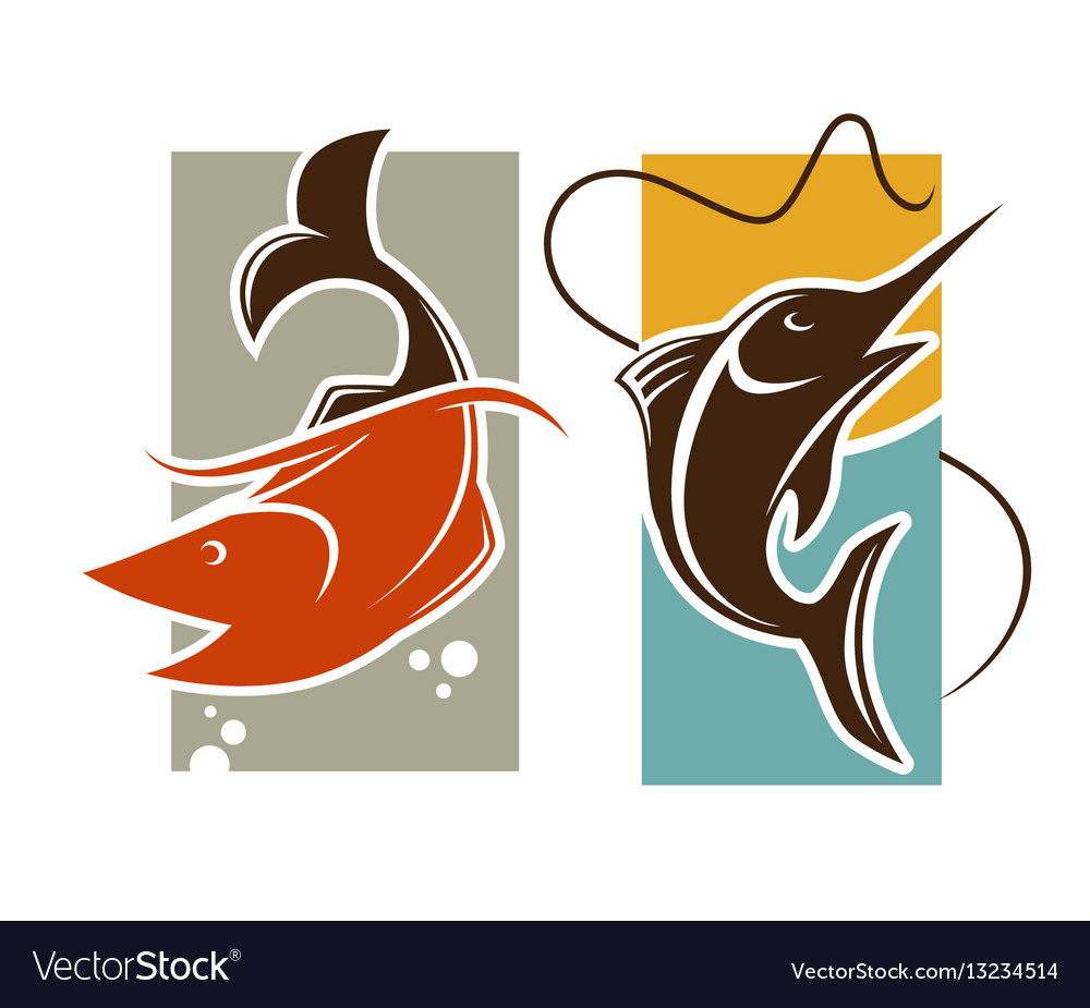Fishing time logo template fish catch on rod hook vector image