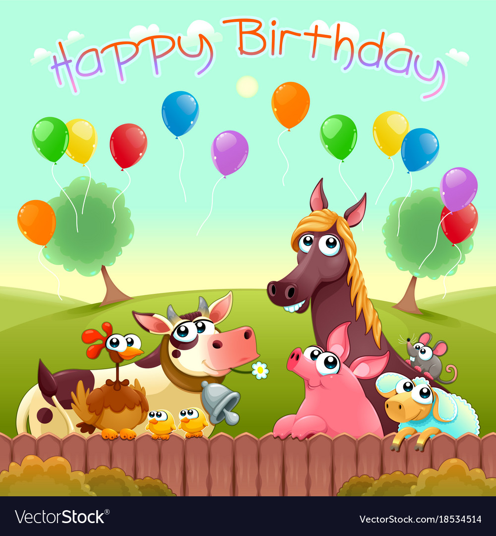 Happy birthday card with cute farm animals vector image bookmarktalkfo Choice Image