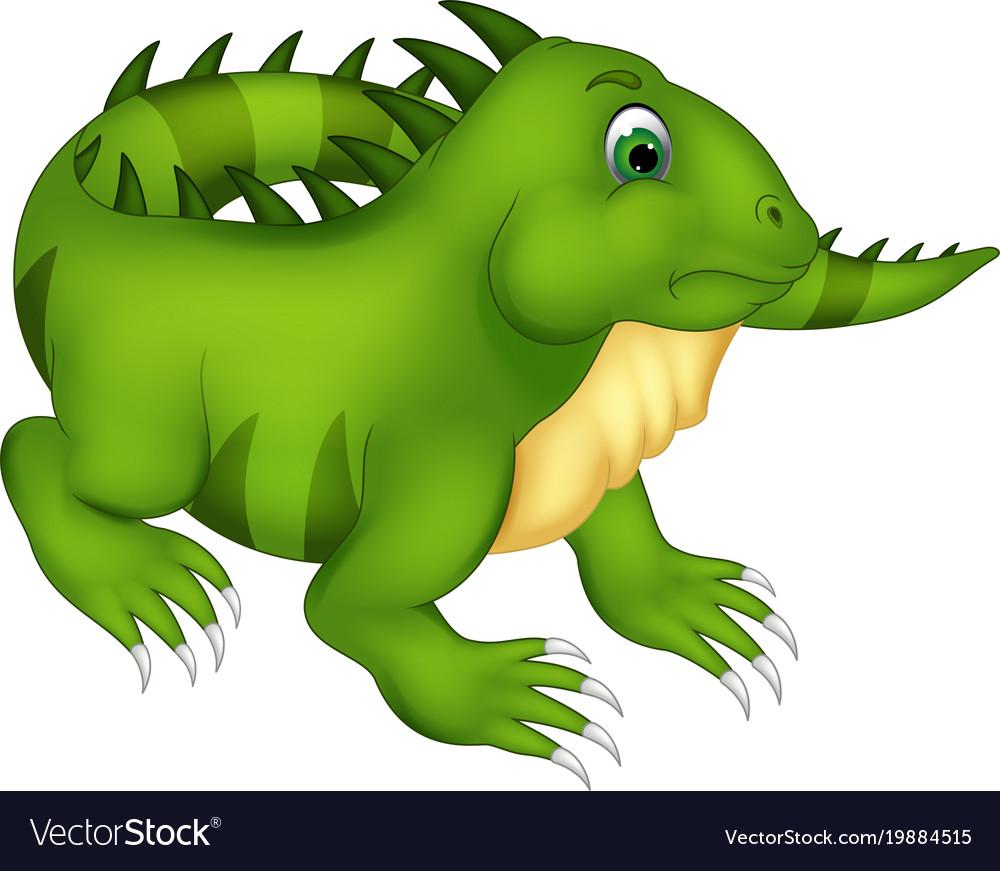 Cute iguana cartoon posing with smiling vector image