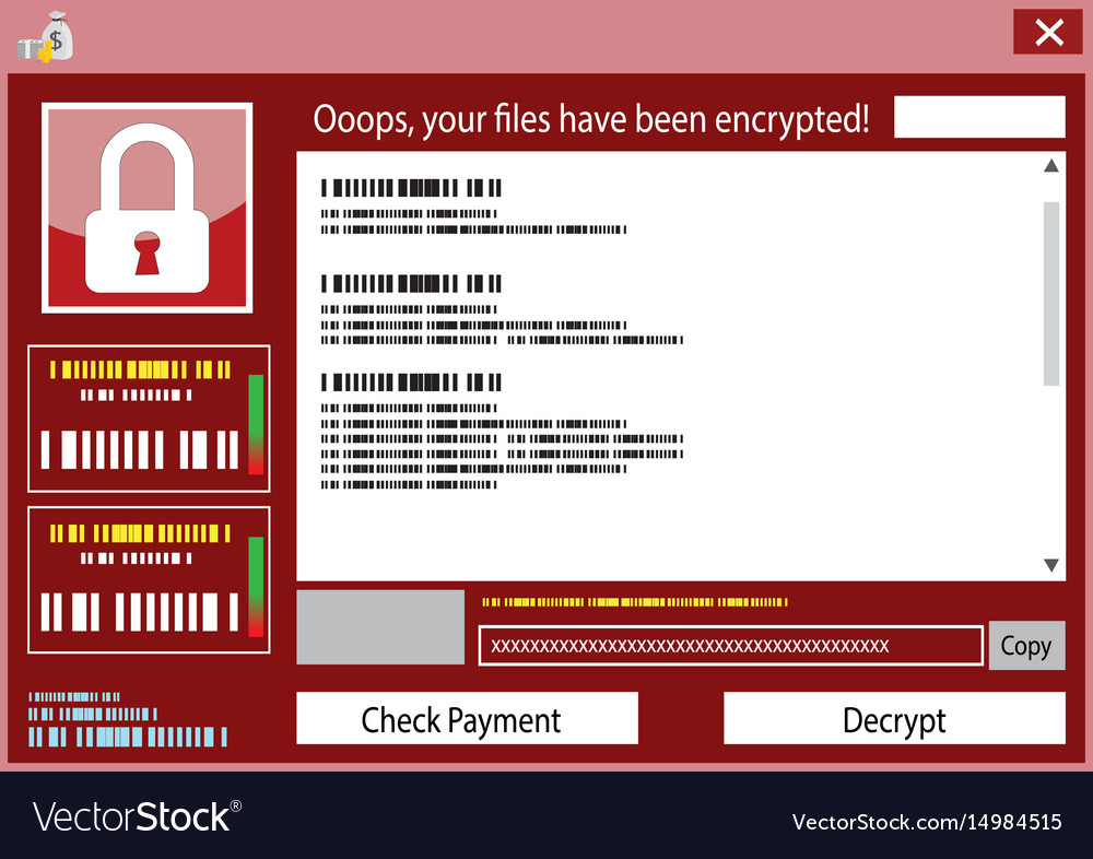 Malware wannacry ransomware virus encrypted vector image