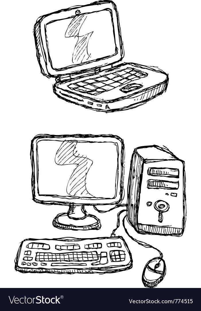 Scribble series - computers vector image